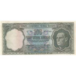 Turkey, 100 Lira, 1964, XF, 5/5. Emission, p177br/serial number: C55 039799