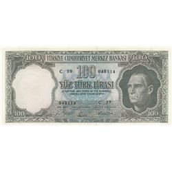 Turkey, 100 Lira, 1964, XF, 5/5. Emission, p177br/serial number: C39 048114
