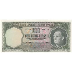 Turkey ,100 Lira, 1969, UNC, 5/6. Emission, p182br/Atatürk portrait, serial number: G44 065418