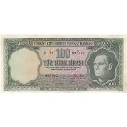 Turkey, 100 Lira, 1969, XF, 5/6. Emission, p182br/serial number: E53 097092