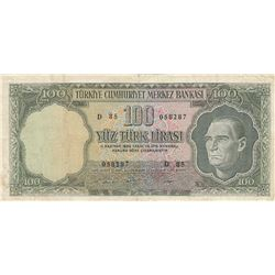 Turkey, 100 Lira, 1969, VF, 5/6. Emission, p182br/Atatürk portrait, serial number: D85 058287