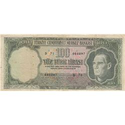 Turkey, 100 Lira, 1969, VF (-), 5/6. Emission, p182br/Atatürk portrait, serial number: D71 088897