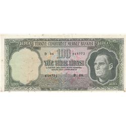 Turkey, 100 Lira, 1969, VF, 5/6. Emission, p182br/serial number: D06 015772, stained
