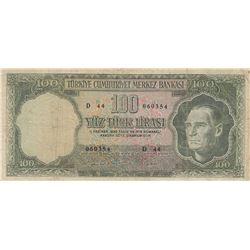 Turkey, 100 Lira, 1969, FINE (-), 5/5. Emission, p182br/Atatürk portrait, serial number: D44 060354