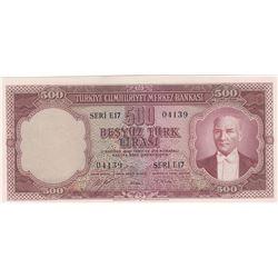 Turkey, 500 Lira, 1953, AUNC / UNC, 5/1. Emission, p170br/serial number:  E17 04139