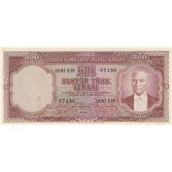 Turkey, 500 Lira, 1953, XF, 5/1. Emission, p170br/serial number: E19 07430, pressed