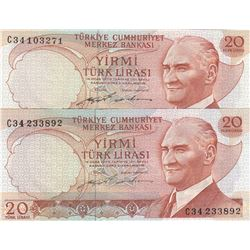 Turkey, 20 Lira, 1974, UNC, 6/2. Emission, p187, THIN AND THICK SIGNATURE SET, (Total 2 banknotes)br