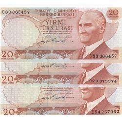 Turkey, 20 Lira, 1974, UNC, 6/2. Emission, p187, (Total 3 banknotes)br/Prefix numbers: C83, D79, E54