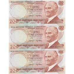 Turkey, 20 Lira, 1979, UNC, p187, (Total 3 banknotes)br/Atatürk portrait, serial numbers: H06 393841