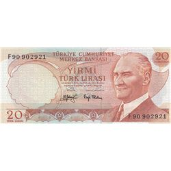 """Turkey, 20 Lira, 1979, UNC,6/3. Emission, p187, """"F90"""" last prefixbr/serial number: F90 902921"""