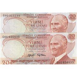 """Turkey, 20 Lira, 1979, UNC,6/3. Emission, p187, """"G01"""" first prefix and """"G90"""" last prefixbr/serial nu"""