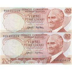 Turkey, 20 Lira, 1979, UNC, 6/3. Emission, p187, THIN AND THICK SIGNATURE SET, (Total 2 banknotes)br