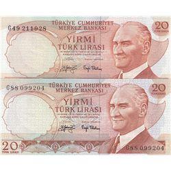 Turkey, 20 Lira, 1979, UNC, 6/3. Emission, p187, PHOSPHORUS  NON-PHOSPHORUS SET, (Total 2 banknotes)