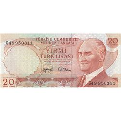 Turkey, 20 Lira, 1979, UNC, 6/3. Emission, p187, ERRORbr/serial number: G49 950311, Incorrect cuttin