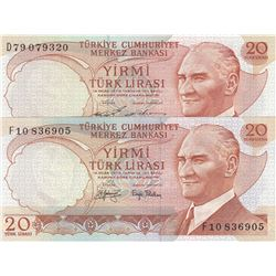 Turkey, 20 Lira, 1974/1979, UNC, 6/1. and 6/2. Emission, p187, (Total 2 banknotes)br/serial numbers: