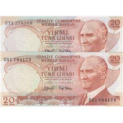 Turkey, 20 Lira, 1979, AUNC, 6/3. Emission, p187, PHOSPHORUS  NON-PHOSPHORUS SET, (Total 2 banknotes