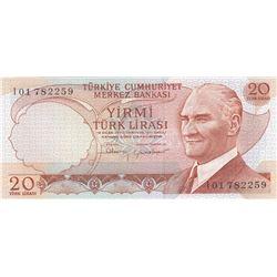 "Turkey, 20 Lira, 1983, UNC, 6/4. Emission, p188, ""I01""br/Atatürk portrait, serial number: I01 782259"