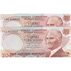 """Turkey, 20 Lira, 1983, UNC, 6/4. Emission, p188, """"I01"""" first prefix and """"I90"""" last prefix, (Total 2"""