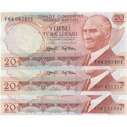 Turkey, 20 Lira, 1979/1983, UNC, 6/3 and 6/4. Emission, p187, p188, (Total 3 banknotes)br/Prefix num