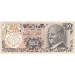 """Turkey, 50 Lira, 1976, UNC, 6/1. Emission, p187A, """"B01""""br/Atatürk portrait, serial number: B01 17633"""