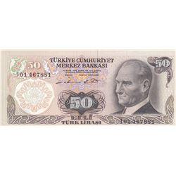 """Turkey, 50 Lira, 1976, UNC, 6/1. Emission, p187A, """"I01"""" first prefixbr/serial number: I01 467881"""