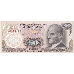 "Turkey, 50 Lira, 1976, UNC, 6/1. Emission, p187A, ""I32"" rare prefixbr/serial number: I32 164310"