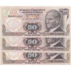 Turkey, 50 Lira, 1976, AUNC, 7/1. Emission, p187A, (Total 3 banknotes)br/Atatürk portrait, serial nu