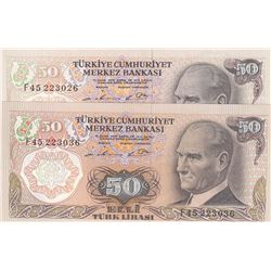 Turkey, 50 Lira, 1976, AUNC, 7/1. Emission, p187A, (Total 2 banknotes)br/serial numbers: F45 223026,