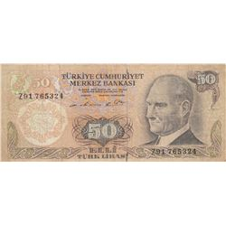 Turkey, 50 Lira, 1976, FINE, 6/1. Emission, p187A, REPLACEMENTbr/serial number: Z91 765324