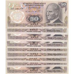 Turkey, 50 Lira, 1976, UNC, 6/1. Emission, p187A, (Total 9 banknotes)br/Prefix numbers: A61, B63, C0