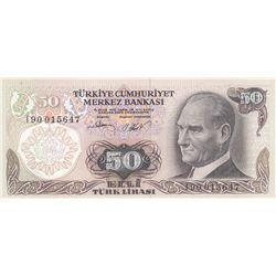 """Turkey, 50 Lira, 1983, UNC, 6/2. Emission, p187A, """"I90"""" last prefixbr/serial number: I90 015647"""