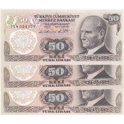 Turkey, 50 Lira, 1976/1983, UNC, 6/1 and 6/2. Emission, p187A, PHOSPHORUS  NON-PHOSPHORUS SET, (Tota