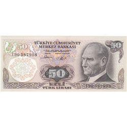 """Turkey, 50 Lira, 1983, UNC, 6/2. Emission, p187A, """"I90"""" last prefixbr/serial number: I90 587908"""