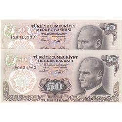 "Turkey, 50 Lira, 1983, UNC, 7/2. Emission, p187A, ""I90"" last prefix, (Total 2 banknotes)br/serial nu"