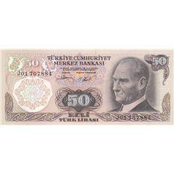 """Turkey, 50 Lira, 1983, UNC, p187Ab, """"J01""""br/Atatürk portrait, serial number: J01 707884"""