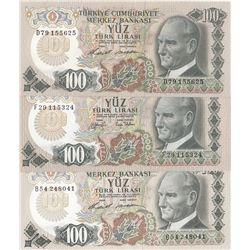 Turkey, 100 Lira, 1972/1979, AUNC, p189, (Total 3 banknotes)br/Atatürk portrait, serial numbers: B54