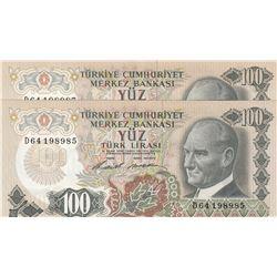 Turkey, 100 Lira, 1972, AUNC, 7/1. Emission, p189, (Total 2 banknotes)br/Atatürk portrait, serial nu