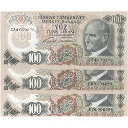 Turkey, 100 Lira, 1972, UNC, 6/1. Emission, p189, (Total 3 banknotes)br/Prefix numbers: C54, D69, E2