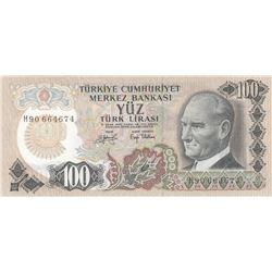 "Turkey, 100 Lira, 1979, UNC, 6/2. Emission, p189, ""H90"" last prefixbr/serial number: H90 664674"