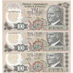 Turkey, 100 Lira, 1979, UNC, 6/2. Emission, p189, (Total 3 banknotes)br/Prefix numbers: J02, J27, I1