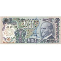 Turkey, 500 Lira, 1974, UNC, 6/2. Emission, p19cbr/Atatürk portrait, serial number: E33 180505