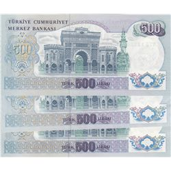 Turkey, 500 Lira, 1974, UNC, 6/2. Emission, p190e, (Total 3 banknotes)br/serial numbers: N26 261073,