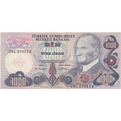 Turkey, 1.000 Lira, 1978, VF, 6/1. Emission, p191, REPLACEMENTbr/serial number: Z91 570113
