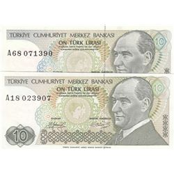 Turkey, 10 Lira, 1979, UNC, 7/1. Emission, p192, LONG EYEBROW AND SHORT EYEBROW SET, (Total 2 bankno