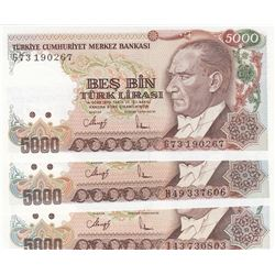 Turkey, 5.000 Lira, 1990, UNC, 7/4. Emission, p198, (Total 3 banknotes)br/serial numbers: G73 190267