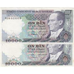 Turkey, 10.000 Lira, 1982, XF, 7/1. Emission, p199, DIFFERENT WATERMARK, (Total 2 banknotes)br/seria