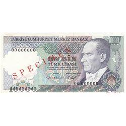 Turkey, 10.000 Lira, 1984, UNC, 7/2. Emission, p199, SPECIMENbr/serial number: 00 000000