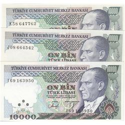 Turkey, 10.000 Lira, 1993, UNC, 7/4. Emission, p200, (Total 3 banknotes)br/serial numbers:  I69 1639