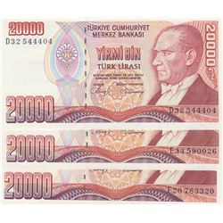 Turkey, 20.000 Lira, 1988, UNC, 7/1. Emission, p201, (Total 3 banknotes)br/serial numbers:   D32 544