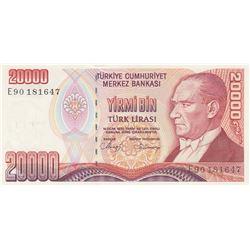 """Turkey, 20.000 Lira, 1988, UNC, 7/1. Emission, p201, """"E90"""" last prefixbr/serial number: E90 181647"""